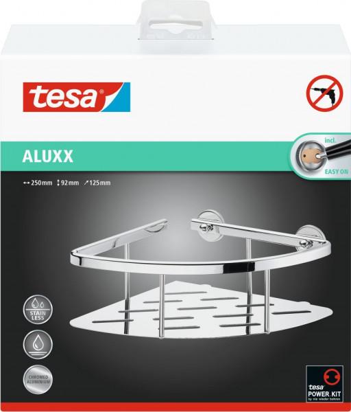 tesa® Eckablage Dusche, einstöckig, Aluminium, verchromt, Klebelösung