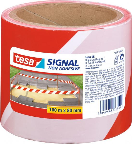 tesa® Signal Absperrband nicht klebend rot/weiß 100 m x 80 mm