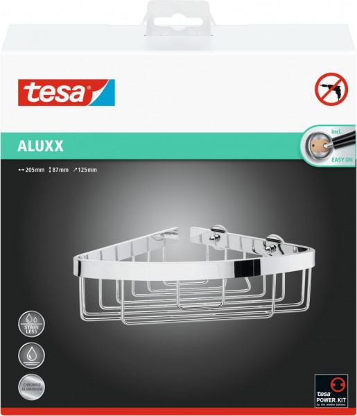 tesa® Eck-Duschablage, einstöckig, Aluminium, verchromt, Klebelösung
