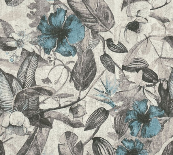 A.S. Création Vliestapete Greenery, Grau Weiß Blau 372162