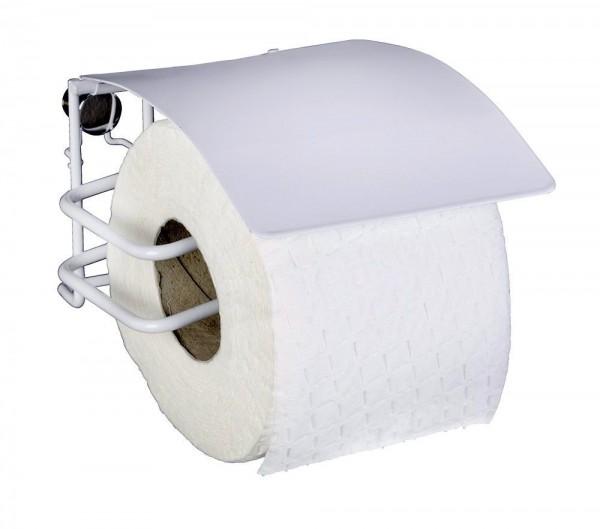WENKO Toilettenpapierhalter mit Deckel Classic Plus, mit hochwertigem Rostschutz