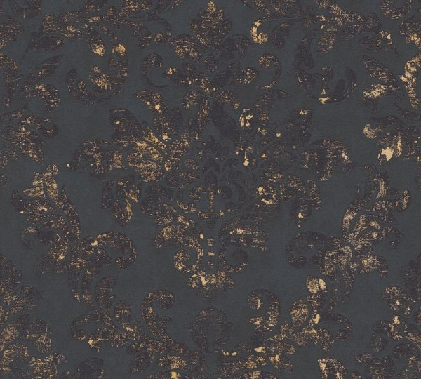 A.S. Création Vliestapete Neue Bude 2.0 Ed. II, Damask Schwarz Gold 374132