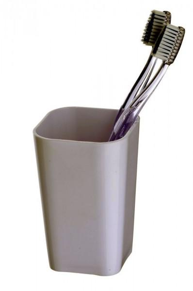 WENKO Zahnputzbecher Candy White, hochwertiger, schwerer Kunststoff