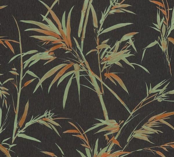 A.S. Création Vliestapete Sumatra, Schwarz Grün Orange 373763