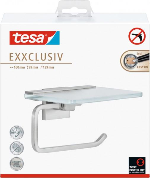 tesa® Exxclusiv Toilettenrollenhalter mit Ablage