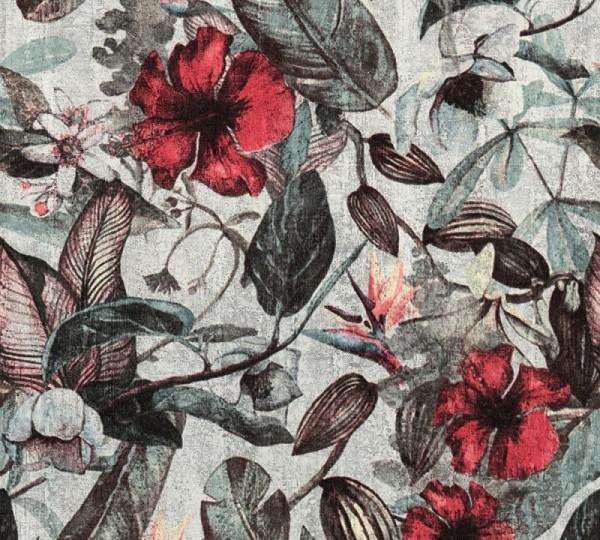 A.S. Création Vliestapete Greenery, Grau Grün Rot 372161