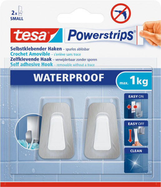 tesa® Powerstrips® Waterproof Haken Small Metall/Plastik, 2 Stück