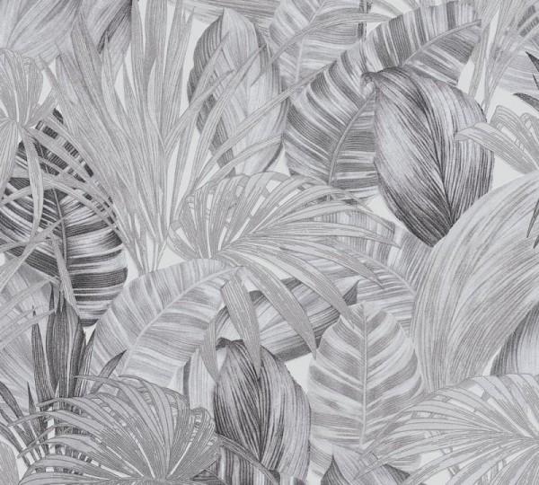 A.S. Création Vliestapete Greenery, Weiß Schwarz Grau 368203