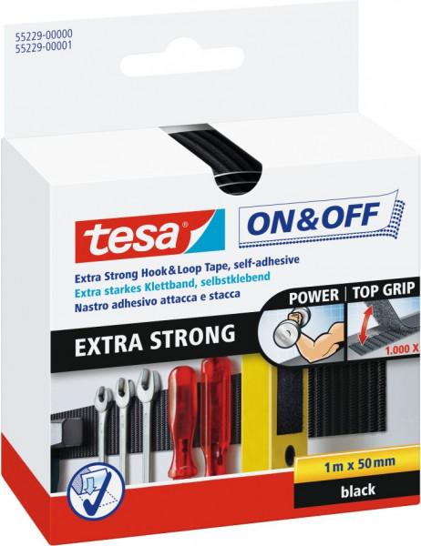 tesa® On & Off® Extra Strong Klettband, schwarz 1 m x 50 mm