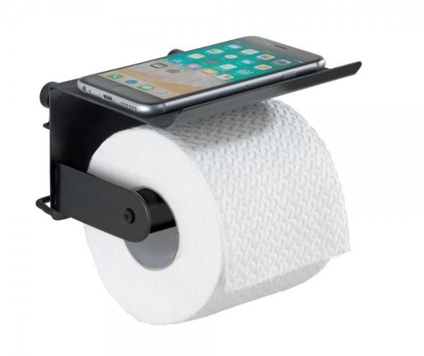 WENKO Toilettenpapierhalter mit Ablage Classic Plus Black mit hochwertigem Rostschutz