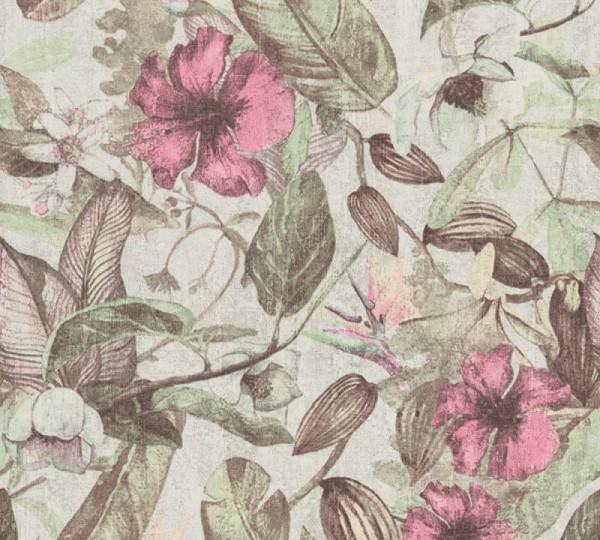 A.S. Création Vliestapete Greenery, Grün Rosa Grau 372164