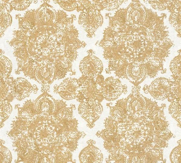 A.S. Création Vliestapete Trendwall, Metallic Weiß Gold 370902