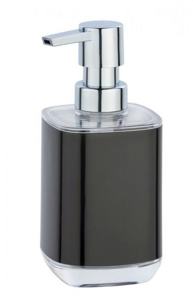 WENKO Seifenspender Masone Schwarz, aus hochwertigem, schwerem Kunststoff, 330 ml