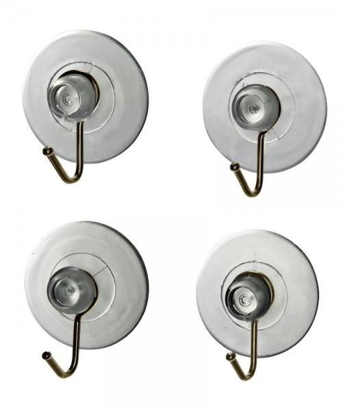 WENKO Saughaken Nickel Transparent, 4er Set