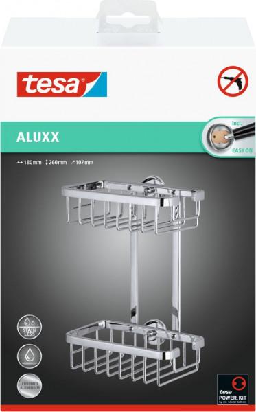 tesa® Duschregal ohne Bohren, zweistöckig, verchromt, inkl. Klebelösung