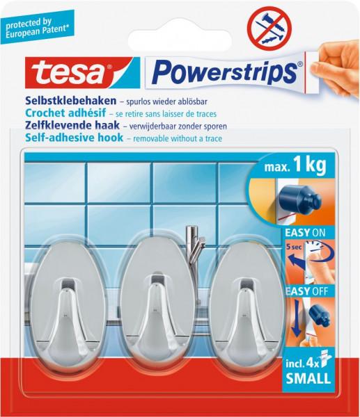 tesa® Powerstrips® Haken Small Oval, chrom, 3 Stück