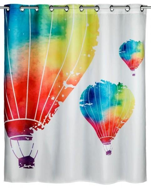 WENKO Anti-Schimmel Duschvorhang In the Air Flex, Polyester, 180 x 200 cm, waschbar