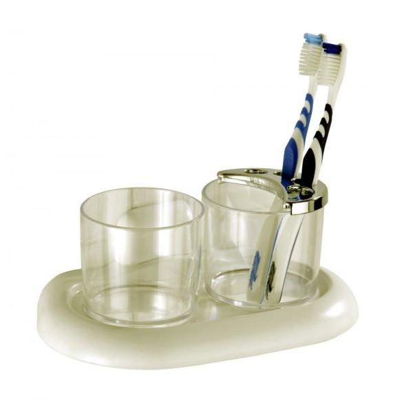 WENKO Zahnputzbecher und Zahnbürstenhalter Pure