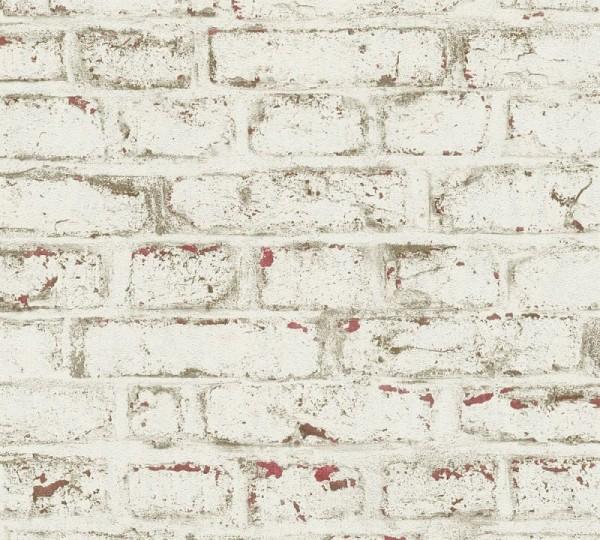 A.S. Création Vliestapete Trendwall, Beige Rot Weiß 371621