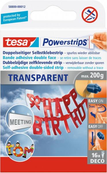 tesa® Powerstrips® Klebestrip transparent Deco 16 Strips
