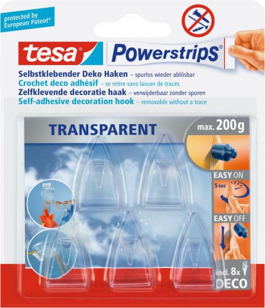tesa® Powerstrips® transparent, Deco-Haken, 5 Stück