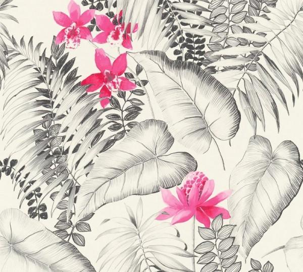 A.S. Création Vliestapete Exotic Life, Grau Rosa Schwarz 372791