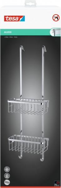 tesa® Duschregal zum Aufhängen, zweistöckig, Aluminium, verchromt