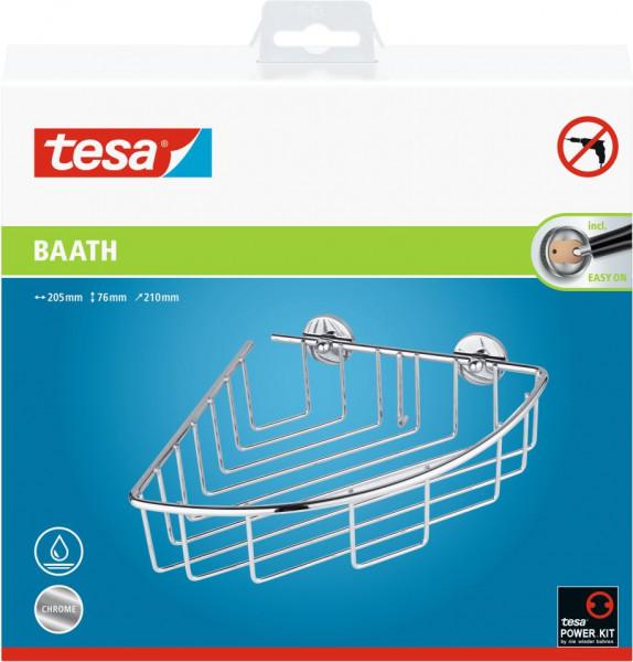 tesa® baath Plus Eckkorb Dusche, verchromt, inkl. Klebelösung