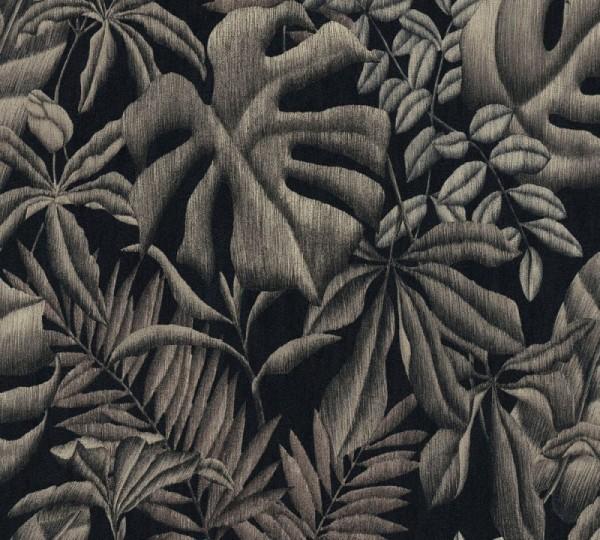 A.S. Création Vliestapete Greenery, Braun Grau Schwarz 370332