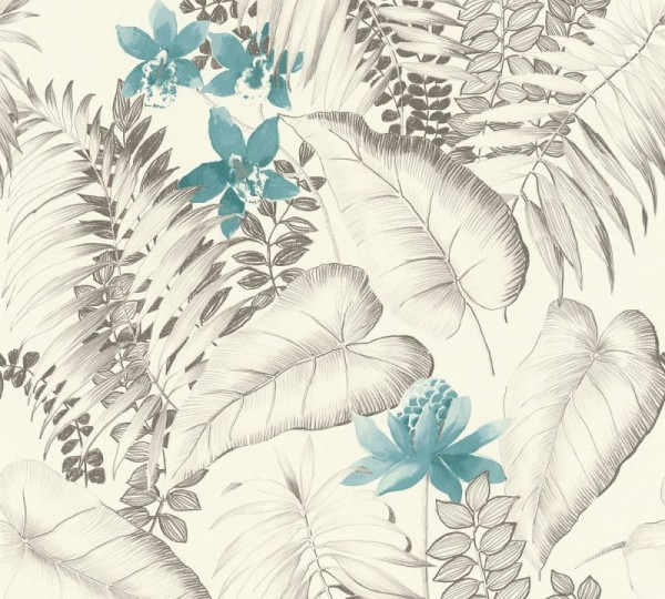 A.S. Création Vliestapete Exotic Life, Blau Grau Schwarz 372792