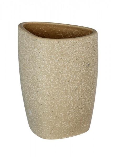 WENKO Zahnputzbecher Pion Beige, hochwertige Keramik