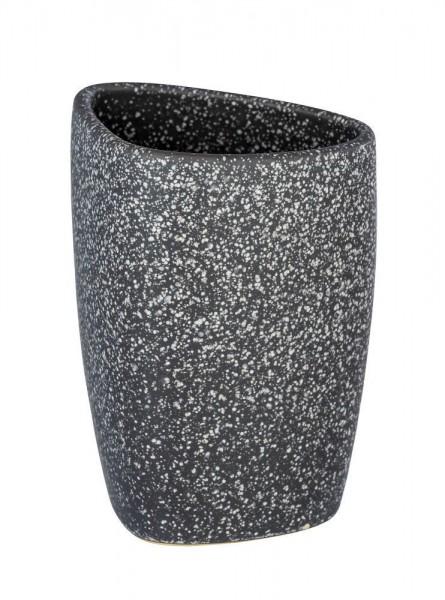 WENKO Zahnputzbecher Pion Grau, hochwertige Keramik
