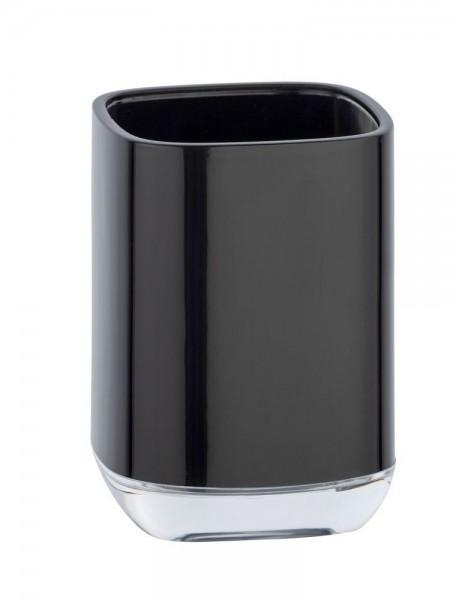 WENKO Zahnputzbecher Masone Schwarz, aus hochwertigem, schwerem Kunststoff