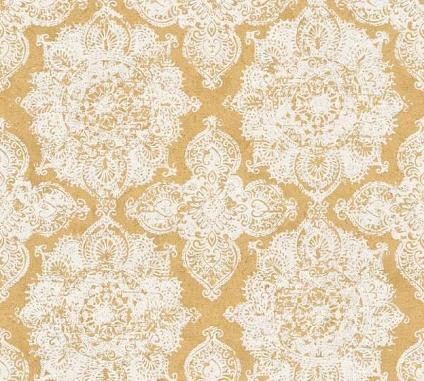 A.S. Création Vliestapete Trendwall, Metallic Gold Weiß 370901