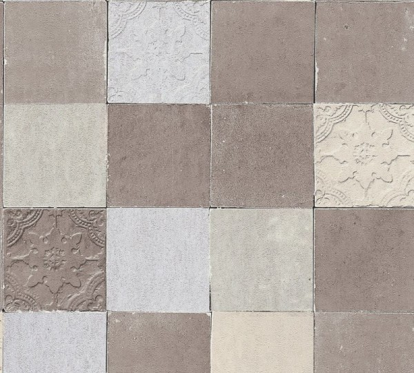 Livingwalls Vliestapete New Walls, Finca Living Fliese Silber 374063