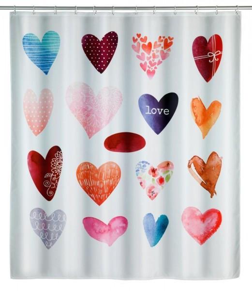 WENKO Duschvorhang Love, Polyester, 180 x 200 cm, waschbar