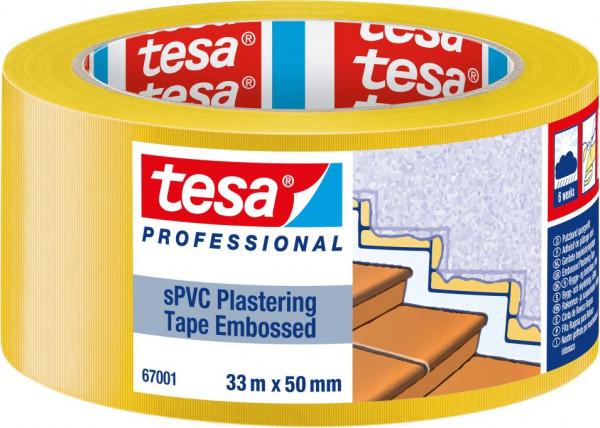 tesa® Putzband quergerillt, gelb 33 m x 50 mm