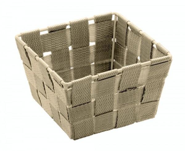 WENKO Aufbewahrungskorb Adria Mini Beige, quadratisch