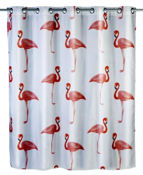 WENKO Anti-Schimmel Duschvorhang Flamingo Flex, Polyester, 180 x 200 cm, waschbar