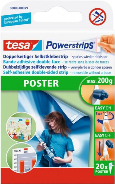 tesa® Powerstrips® Klebestrip Poster, weiß, 20 Strips