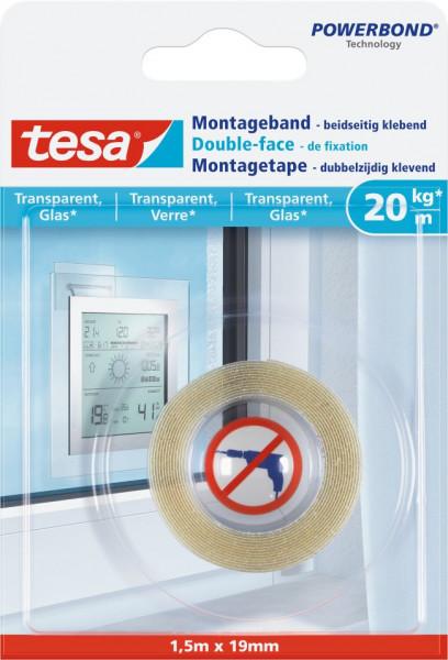 tesa® Montageband transparent, Glas, 20 kg