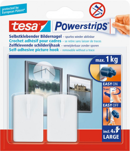 tesa® Powerstrips® Bilder-Nagel, weiß, 2 Stück