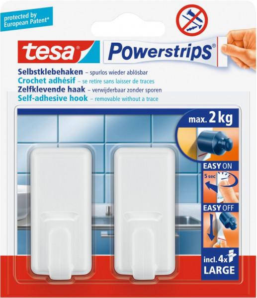 tesa® Powerstrips® Haken Large Classic, weiß, 2 Stück