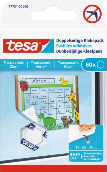tesa® Doppelseitige Klebepads transparent, Glas, 60 Stück