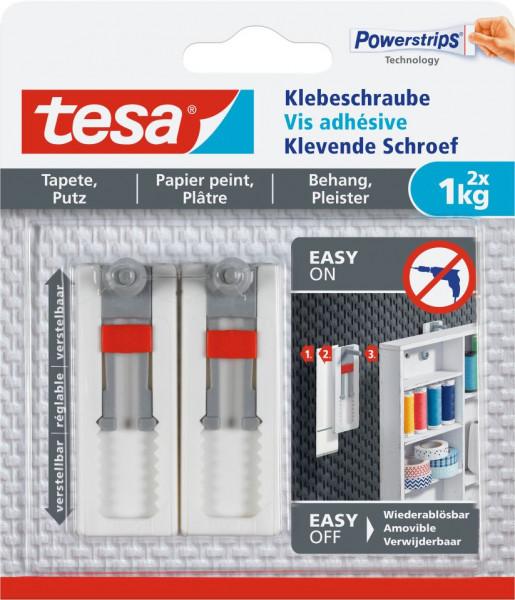 tesa® Klebeschraube verstellbar, Tapete & Putz, 2 x 1 kg