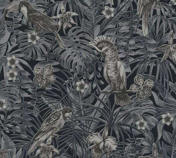 A.S. Création Vliestapete Greenery, Schwarz Grau Creme 372104