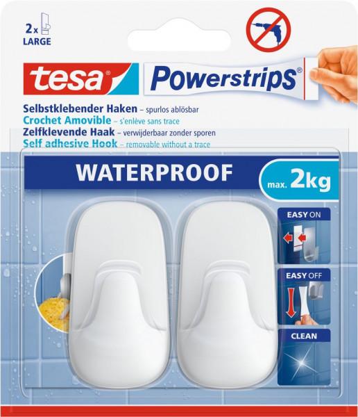 tesa® Powerstrips® Waterproof Haken Large Plastik weiß, 2 Stück