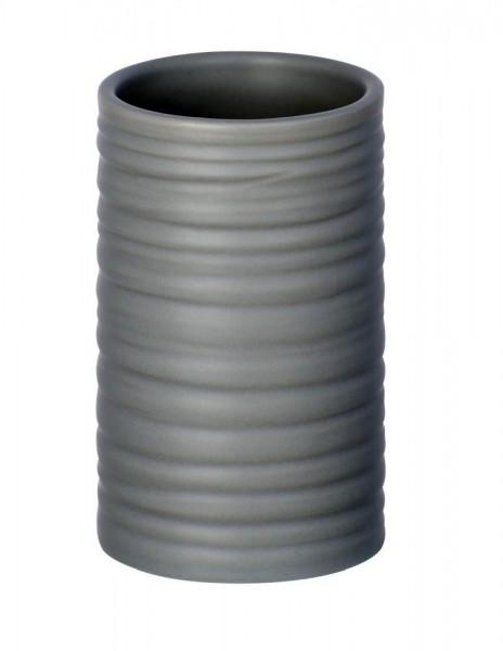 WENKO Zahnputzbecher Mila Grau, Keramik