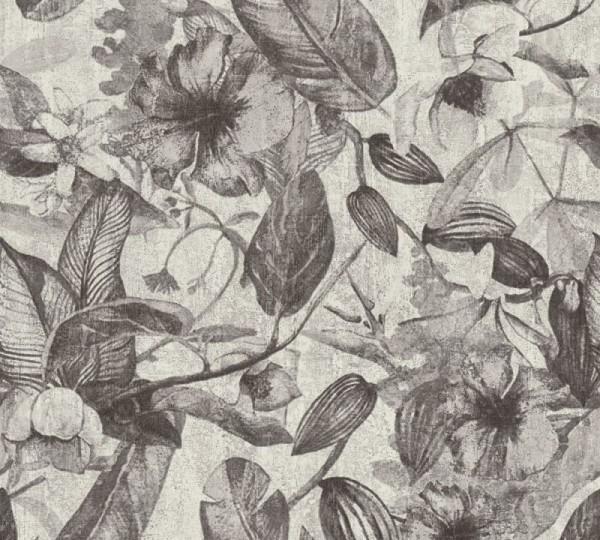 A.S. Création Vliestapete Greenery, Grau Weiß Schwarz 372163
