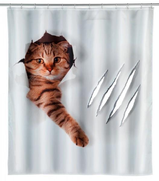 WENKO Duschvorhang Cute Cat, Polyester, 180 x 200 cm, waschbar